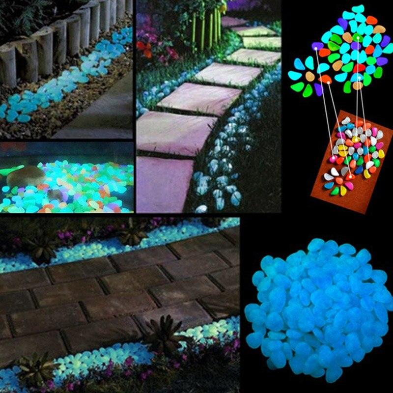 100 pcs artifical pebbles luminous stones for walkway vases aquariums swimming pool glow in the dark - Pool Decorations