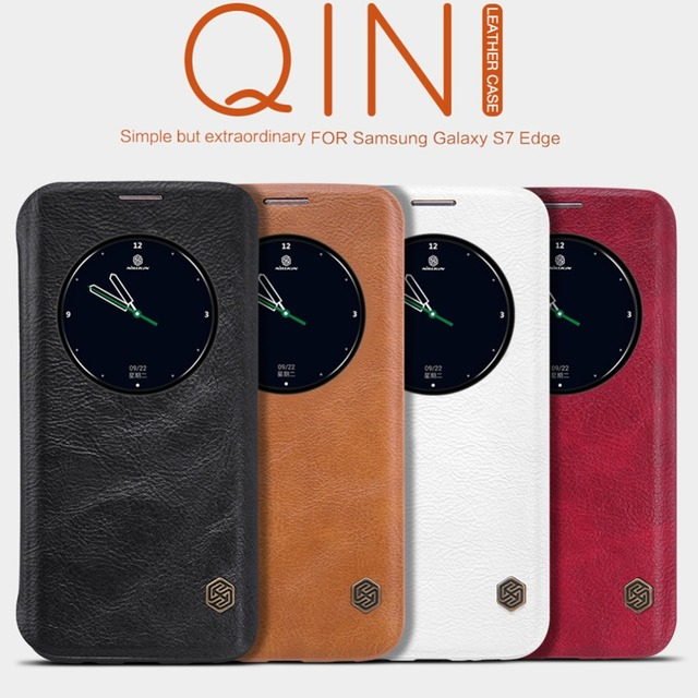 Original nillkin qin série de casos de couro de telefone celular para samsung galaxy s7 edge luxury flip case inteligente com windows vista Funda