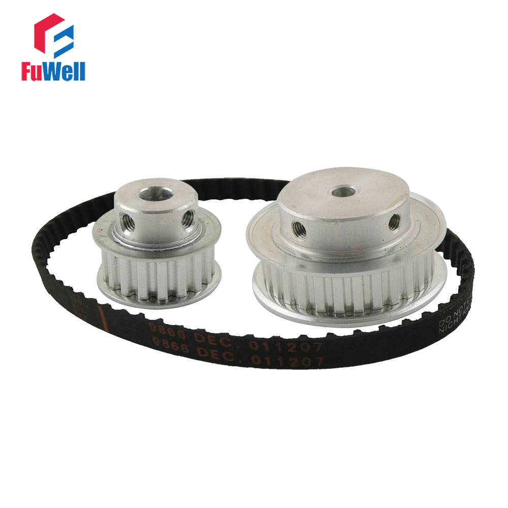 XL Reduction Ratio 1:2/2:1 15Teeth 30Teeth  Timing Pulley Gear Kit Set Shaft Center Distance 100mm 124XL Belt Timing Belt Pulley xl reduction 1 6 6 1 10t 60t timing pulley gear set shaft center distance 100mm for engraving machine timing belt pulley kit