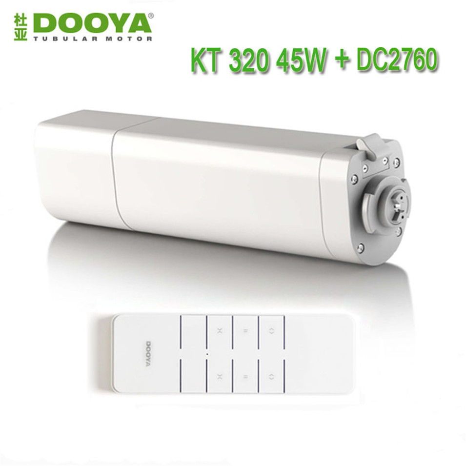 Dooya Automatic Electic Curtain Motor KT320E/45W,Curtain Motor+Dooya DC2760 2 Channel Emitter Remote Controller for Smart Home dooya dc1653 wall switch 15 channel emitter remote controller for electric curtain motor curtain accessories for kt320e dt52e