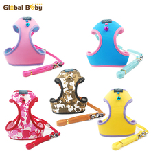 5 Colors 4 Sizes New Styles Soft Protective Body Dog Pet Harness and Leashes  with Bells