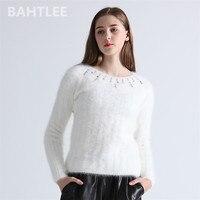BAHTLEE 2018 Autumn winter women angora rabbit Long sleeve Knitted stripes pullovers sweater keep warm handwork diamond white