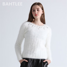 BAHTLEE סתיו חורף נשים אנגורה Jumper ארוך שרוול סרוג פסים סוודרי סוודר להתחמם עבודת יד יהלום לבן