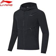Li-Ning Мужская ветровка для бега, пальто с капюшоном, Стандартная посадка, 92% полиэстер, 8% спандекс, подкладка, спортивная куртка AFDP017 MWF380