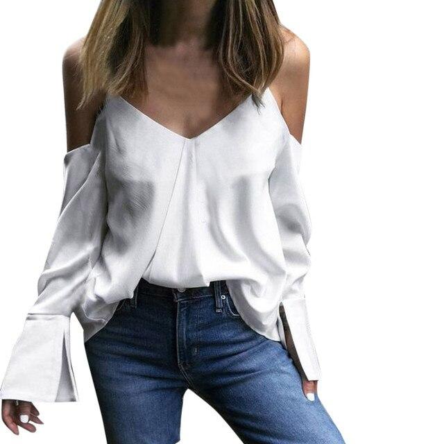 27de90d136cc44 Feitong Strapless Sexy V-neck Backless Tops Autumn Long Flare Sleeve Blouse  Shirt European style Clothes Blusa Feminina g 1