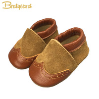 W Design Cowhide Spring Baby Boy Shoes Soft Comfortable Baby First Walkers Shoe Indoor Khaki