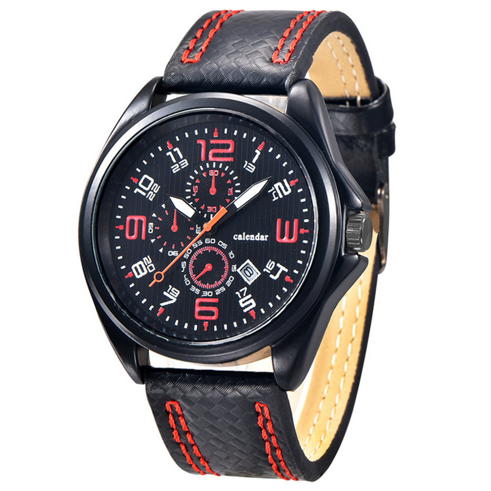 Men Sport Watch Military Date Clock PU Leather Strap Analog Quartz Wristwatch 3 Dials Big Numbers Watch Gifts For Boy Men LL@17 men causal military quartz watch silicone stripe strap wristwatch casual sports watches date clock gifts for boy friend ll 17