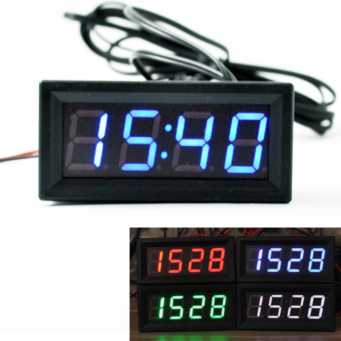 1bff73f44ba 3 EM 1 Display LCD Digital Medidor de Temperatura Termômetro Carro Relógio  Carro Ferramenta Detector Testador