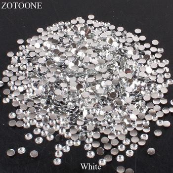 ZOTOONE Resin Flat Back Non Hotfix White Rhinestone For Clothes Decoration Stones And Crystals Strass Applique Glue On Nails Art