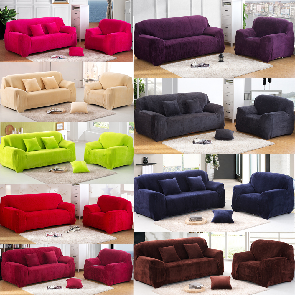 Thicken Plush Sofa Cover Solid Colour Chair Loveseat Couch Washable Slipcover Home Office Hotel Decoration In From Garden