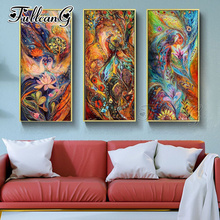 FULLCANG diy 3pcs/set diamond embroidery abstract phoenix painting 5d large mosaic full square/round drill animal picture FC1123