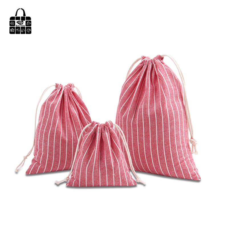 Rose Diary Simple Striped Pocket 100% Cotton Linen Pouch Travel Clothing Bunch Bag Portable Drawstring Pocket Organizers Bag