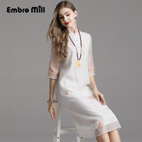 High end spring Chinese style summer floral embroidery dress Organza folk custom Loose waist Chinese style dress S XXL