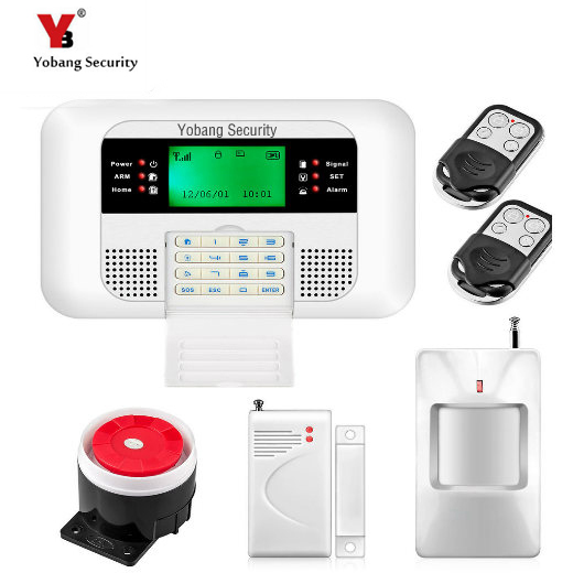 YobangSecurity Wireless 433MHZ SMS PSTN GSM Dual Network Alarma Kit English Russian Spanish Voice Home PSTN GSM Alarm System yobangsecurity dual network gsm pstn home security alarm system lcd keyboard english spanish russian voice prompt alarm sensor