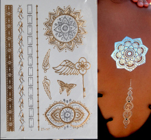 Gold Sliver Tattoos Metallic Temporary Tattoo Sticker Waterproof Fake Sleeve Henna Tatouage Temporary Taty Glitter Flash Tatoo