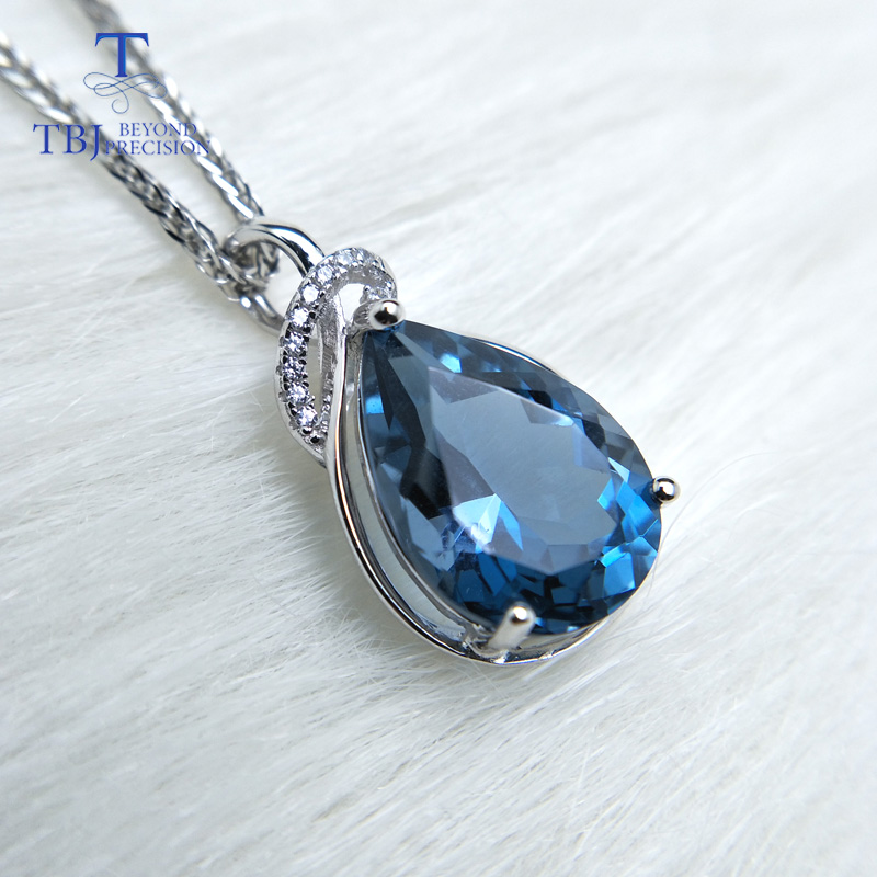 TBJ,luxury simple big pendant with natural london blue topaz in 925 sterling silver fine jewelry for women lady daily party wear