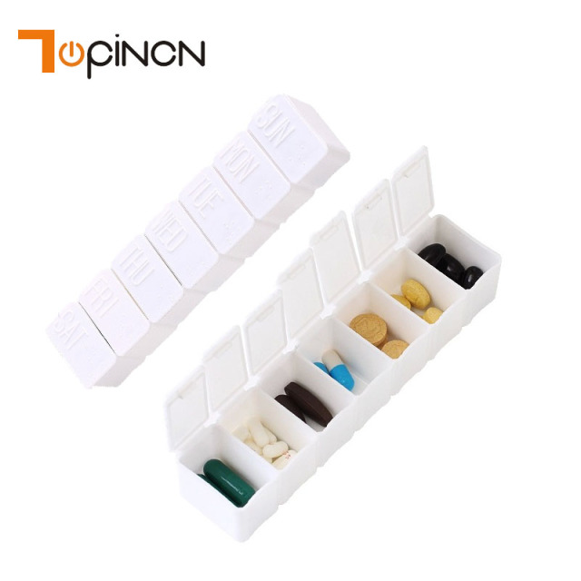 7 Grids Plastic Storage Box Case Makeup Organizer Jewelry Box White