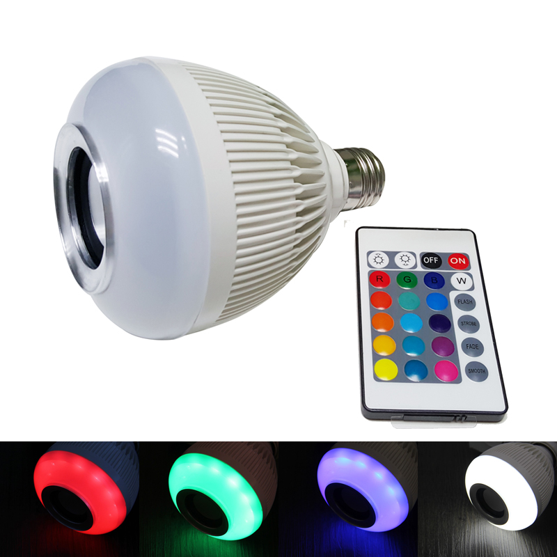 LINYEE 12W Smart RGBW LED Music Bulb 110-240V Music Playing Dimmable Wireless Bluetooth Speaker Bulb with 24 Keys IR Controller