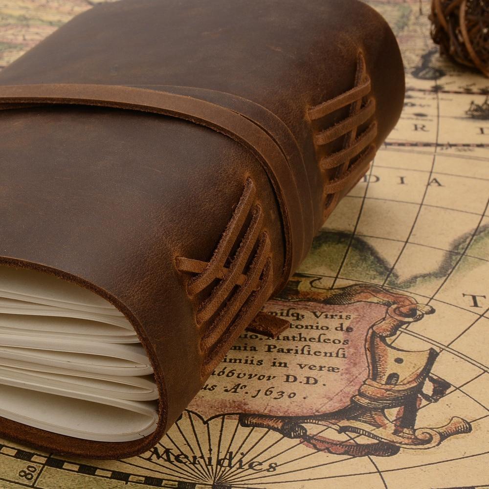 Handgjord äkta läder anteckningsbokstidskrift 5x7 tums - Block och anteckningsböcker - Foto 5