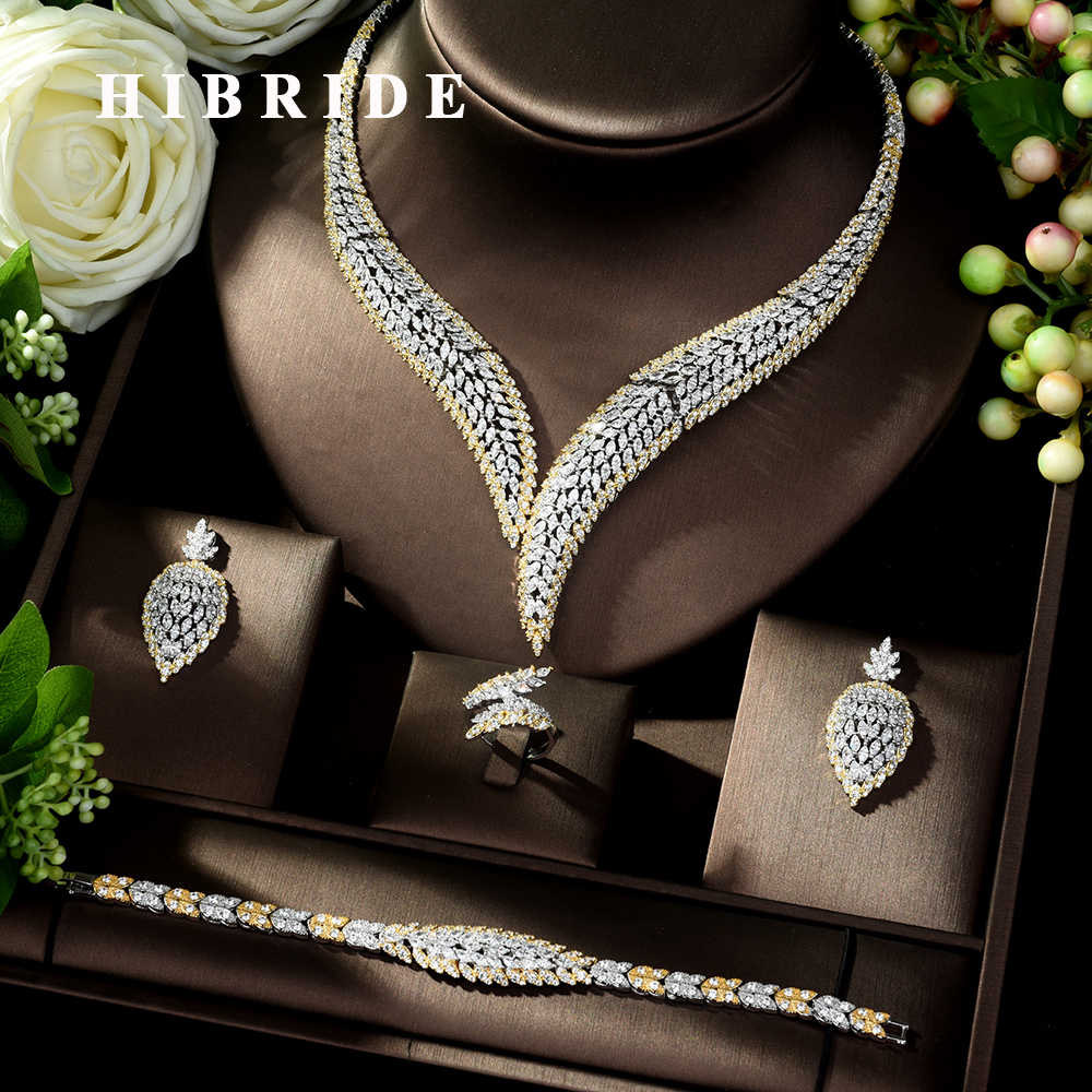 HIBRIDE Elegant Cubic Zircon 4pcs Necklace Jewelry Set Leaf Design Wedding Bridal Set for Lady Party Dress Bijoux Femme N-1022