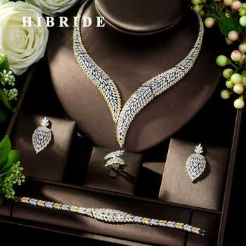 HIBRIDE Elegant Cubic Zircon 4pcs Necklace Jewelry Set Leaf Design Wedding Bridal Set for Lady Party Dress Bijoux Femme N-1022 - DISCOUNT ITEM  30% OFF All Category