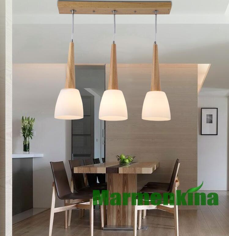 Lustre bar lampe de table restaurant lustre en bois massif verre lustre 3 têtes lustre éclairage intérieur. E14 * 3