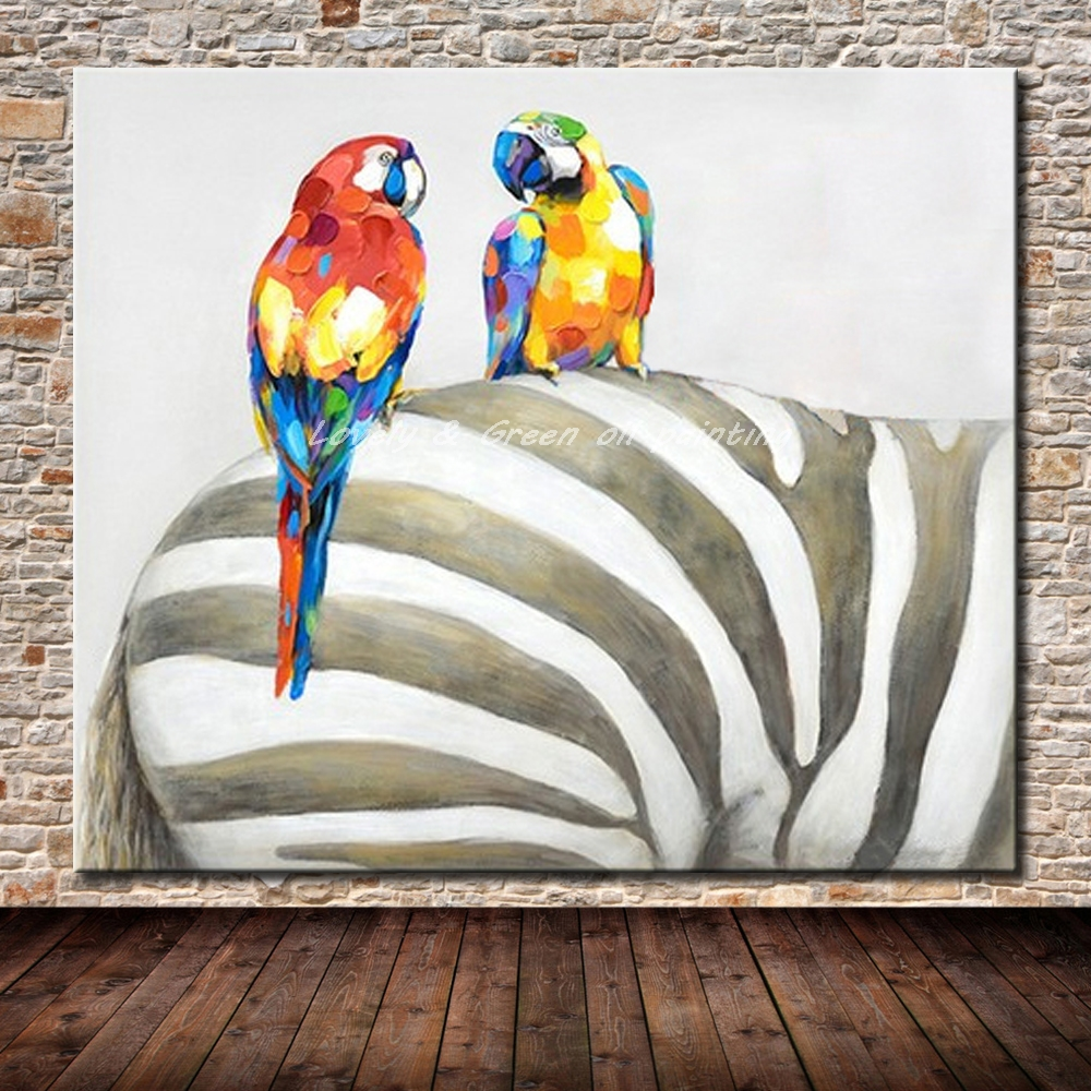 Hand painted canvas paintings hand made parrot and zebra - Oil painting ideas for living room ...