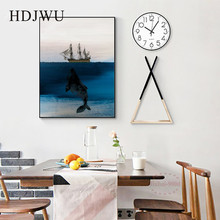 Nordic Modern Creative Art Deep-sea whale Sailboat Decoration Painting Wall Poster for Living Room DJ299