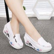 Venda quente das Mulheres Novas de Couro Genuíno Sapatos de Plataforma Cunhas Branco Senhora Sapatos casuais Balançar sapatos mãe tamanho 35-40(China (Mainland))