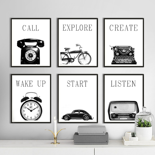 Modern nordic poster black and white retro industrial style multi pictyre still life living room decor