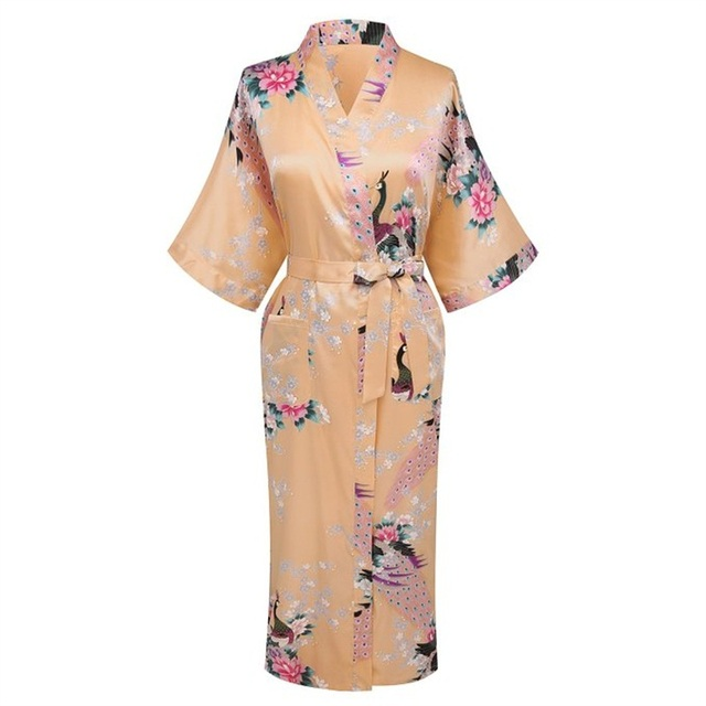 New Arrival Gold Women Silk Satin Kimono Yukata Gown Bridesmaid Wedding Robe  Nightgown Sleepwear Flower S M L 9bc09fc01