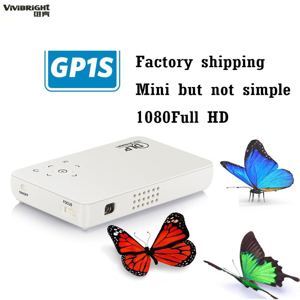 ViViBright GP1S Mini proyector de bolsillo portátil de Mano 16:9 1080 P HD smart