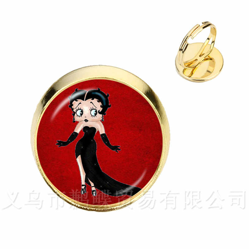 2018 New Sexy And Lovely Betty Boop Pattern Rings Charm 16mm Glass Dome Ring Handmade Jewelry For Women Girls