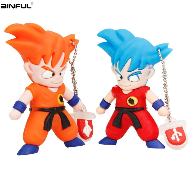 Cartoon Goku Usb Flash Drive 32GB 64GB 128GB High Quality Pen Drive 4GB 8GB 16GB Usb Stick Super Saiyan Pendrive Free Shipping-in USB Flash Drives from Computer & Office