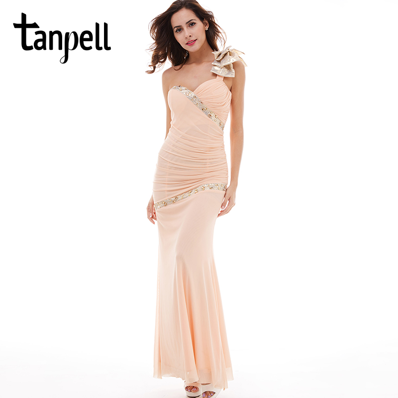 Tanpell bowknot one shoulder evening dress pearl pink sleeveless floor length gown beaded ruched women prom long evening dresses