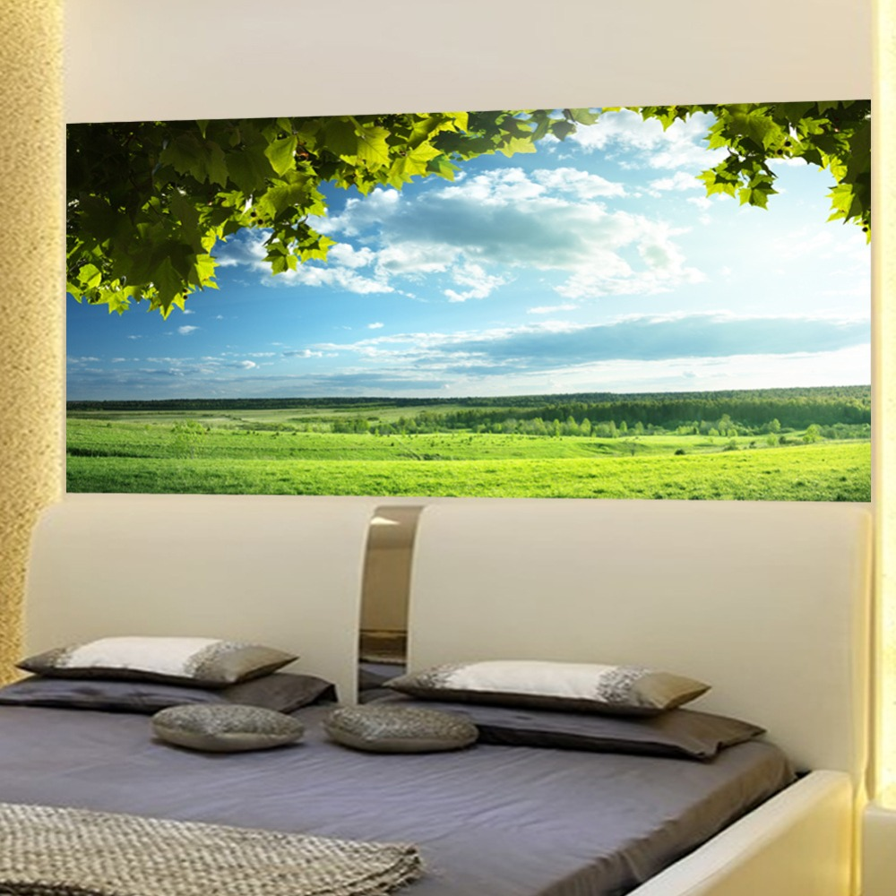 Image 5 - Green Trees Blue Sky Bed Headboard Sticker Wall Stickers Home Decoration DIY Household Living Room Bed Room Decoration New-in Wall Stickers from Home & Garden