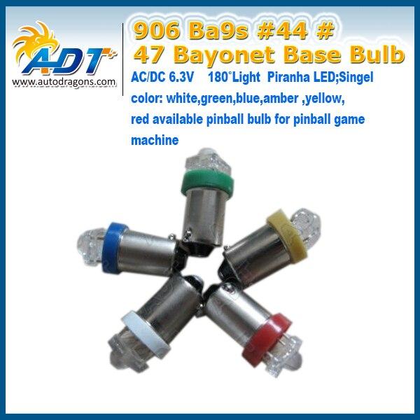 100pcs Super White 6.3V Light Piranha LED #44 BA9S 906 #47 Non flicking pinball led lights bulb for pinball game machine parts