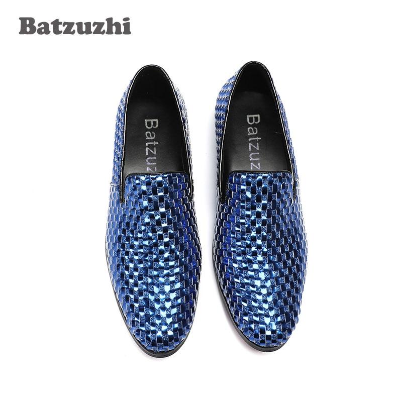 Erkek Homens Grande Azul Festa Preguiçosos Ayakkabi Us12 Italiano Couro Tamanho Sapatos Luxo Onda Batzuzhi De Genuínos Casamento CB7qtAn