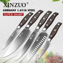 XINZUO جودة عالية 3.5 + 5 + 8 + 8 + 8 بوصة تقطيع فائدة الساطور الشيف سكين تقطيع الخبز ألمانيا 1.4116 الفولاذ المقاوم للصدأ مجموعة سكاكين للمطبخ