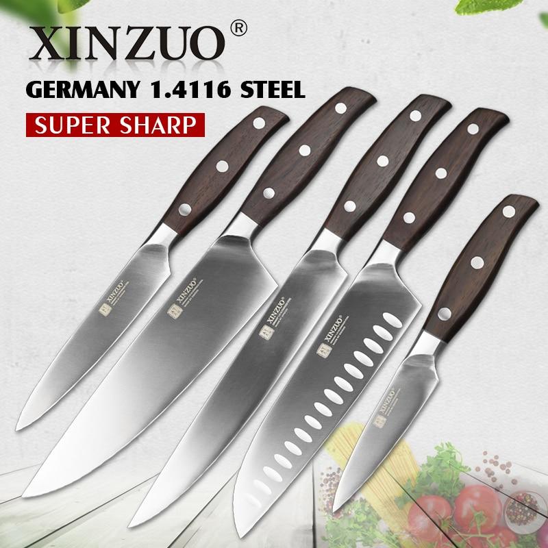 XINZUO Alta Qualidade 3.5 + 5 + 8 + 8 + 8 polegada Aparas Utility Chef Cleaver Faca de Pão Alemanha 1.4116 Conjuntos de Facas de Cozinha de Aço Inoxidável