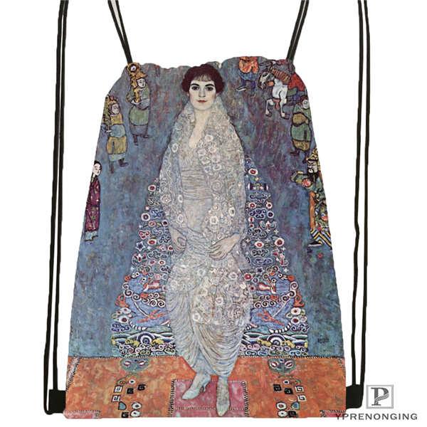 Custom Gustav_Klimt @5 Drawstring Backpack Bag Cute Daypack Kids Satchel (Black Back) 31x40cm#20180611-02-98