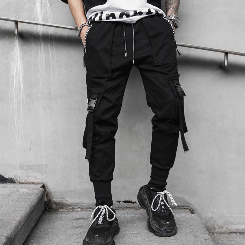 2019 new spring hip hop pants club singer stage costume trousers Ribbons streetwear joggers sweatpants ABZ256