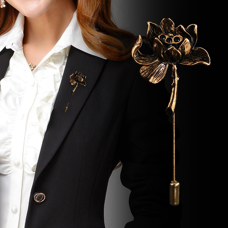 a604f6f8451 Ancient Personality Lotus Flower Brooch Shirt Lapel Pin Suit Corsage Long  Needle Pins and Brooches for