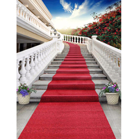 Palace Staircase Red Carpet Wedding Party Photo Booth Backdrop Blue Sky Red Flowers Outdoor Scenic Photography Studio Background