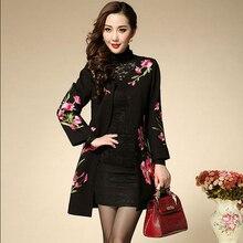 Mulheres de meia Idade Casaco Longo Para A Primavera Outono Vestuário Feminino Jacquard Bordado Chinês Floral Coats Magro Senhora Bonita Capa