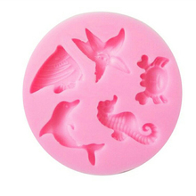 TTLIFE Creative Hippocampus Starfish Dolphin Mold Marine Animal Series DIY Fondant Cake Food-Grade Silicone Bake Tools
