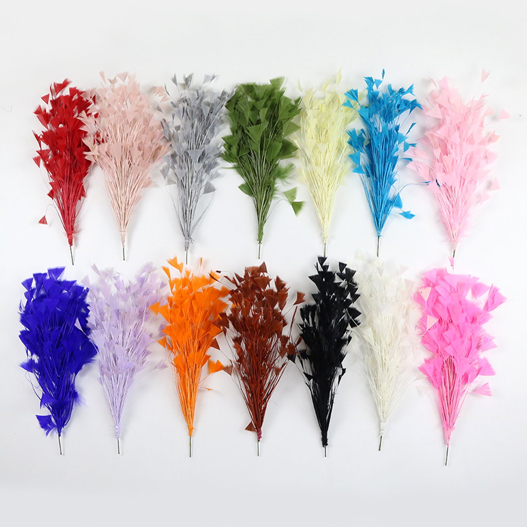 6 Yellow marabou feathers sprays on wire for decorating cakes,floral crafts