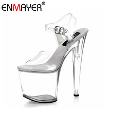 ENMAYER Super Thin High Heel Platform Sexy Classic Transparent Shoes Women Summer Women Pumps for Nightclub Large Size 34-36