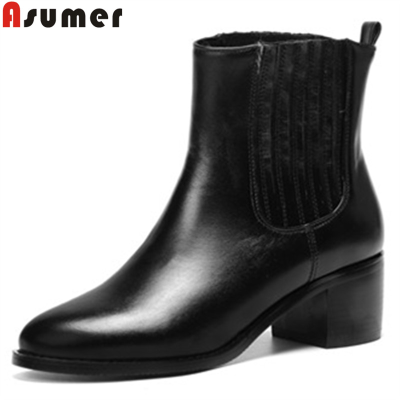 ASUMER big size 34-43 fashion autumn winter boots round toe high heels ankle boots for women slip on lady genuine leather boots big size 34 42 high quality genuine leather leisure low heels ankle boots fashion cowhide round toe platform women boots