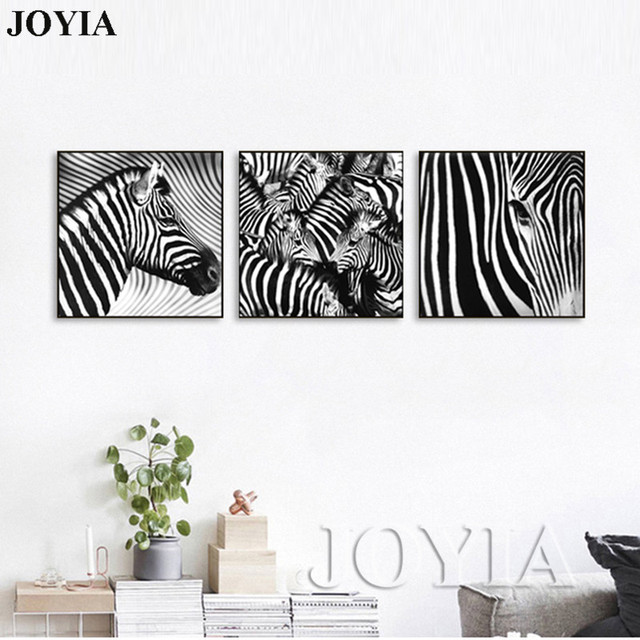 3 Piece Wall Art Decorative Paintings Black And White Zebra Decor Pictures Indoor Adornment Room
